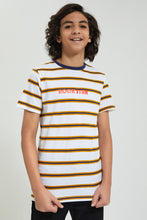 Load image into Gallery viewer, White/Yellow Striped T-Shirt