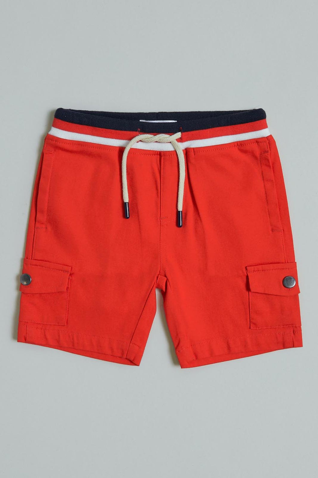 Red Pull On Short With Patch Pocket