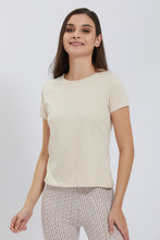 Load image into Gallery viewer, Beige Crew Neck Plain T-Shirt