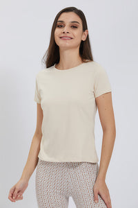 Beige Crew Neck Plain T-Shirt