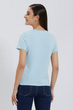 Load image into Gallery viewer, Blue Crew Neck Plain T-Shirt