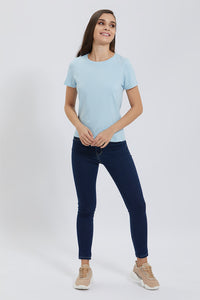 Blue Crew Neck Plain T-Shirt