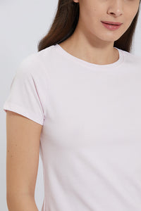 Pink Crew Neck Plain T-Shirt