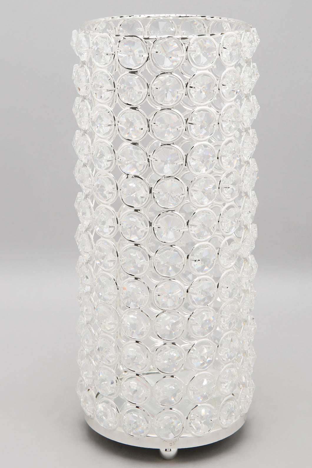 Silver Crystal Beaded Pillar Candle Holder