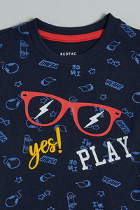 Navy Yes Play All Over Print Tshirt
