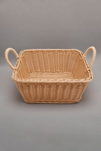 Brown Square Woven Basket With Handles