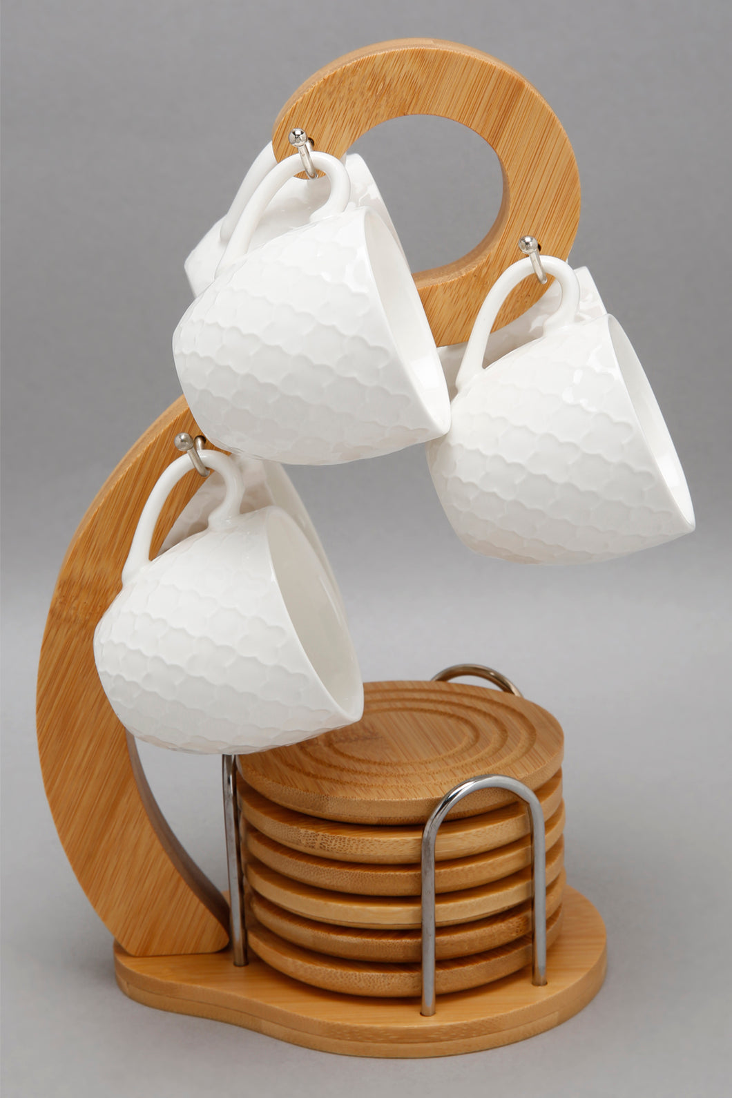 White Embossed Espresso Cup With Bamboo Coaster & Stand (13 Piece)