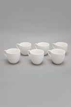 Load image into Gallery viewer, White Embossed Espresso Cup With Bamboo Coaster & Stand (13 Piece)