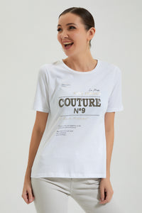 White T Shirt With Embellished Print