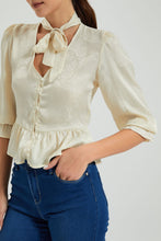 Load image into Gallery viewer, Ivory Pussybow Neck Peplum Blouse