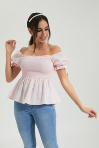 Pink Puff Sleeve Top With Smocking