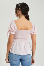 Load image into Gallery viewer, Pink Puff Sleeve Top With Smocking