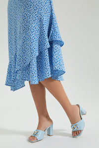 Blue Floral Printed Ruffled Hem Dress