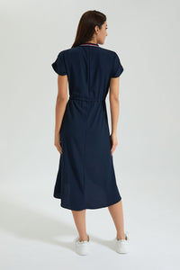 Navy Midi Dress With Striped Sporty Rib Trims