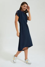 Load image into Gallery viewer, Navy Midi Dress With Striped Sporty Rib Trims