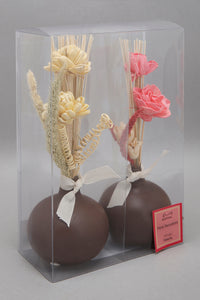 Pink Water Lily Dried Flower Vase Set (2 Piece)