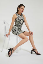 Load image into Gallery viewer, Black Embroidered Bodycon Dress