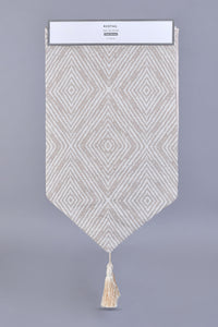 Beige Jacquard Geometric Pattern Table Runner