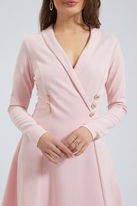 Pink Wrap Dress With Buttons