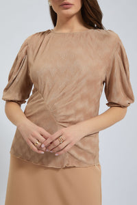 Beige Textured Puff Sleeve Top
