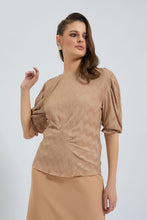 Load image into Gallery viewer, Beige Textured Puff Sleeve Top