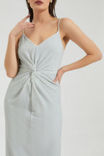 Load image into Gallery viewer, Grey Metallic Strap Front Knot Dress