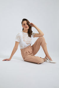 Beige High Waisted Straight Pant