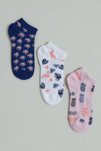 White/Navy/Pink Floral Jacquard Ankle Socks (3-Pack)