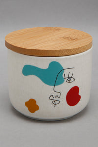 White Picasso Print Canister With Bamboo Lid (Small)
