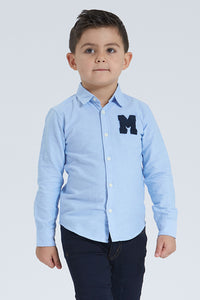 Blue Oxford Shirt With Applique