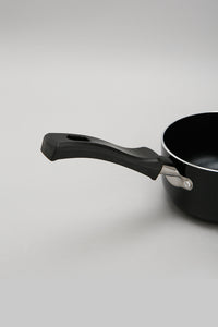 Black Aluminum Nonstick Sauce Pan With Glass Lid (12cm)