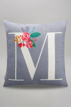 Load image into Gallery viewer, Grey Alphabet M Printed Cushion