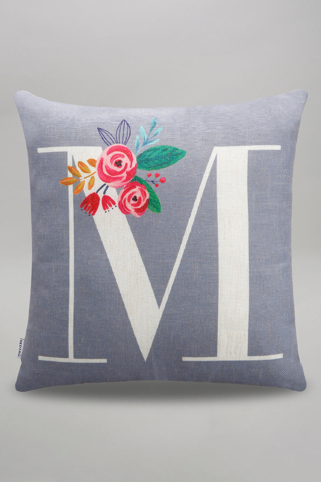 Grey Alphabet M Printed Cushion