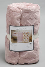 Load image into Gallery viewer, Pink Embossed & Glitter Geometric Flannel Blanket (Double Size)