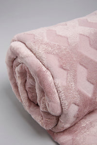 Pink Embossed & Glitter Geometric Flannel Blanket (Double Size)