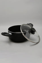 Load image into Gallery viewer, Black Aluminum Nonstick Dutch Oven With Glass Lid (18cm)