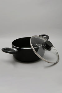 Black Aluminum Nonstick Dutch Oven With Glass Lid (18cm)