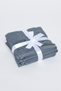 Dark Grey Face Towel Set (Pack of 4)