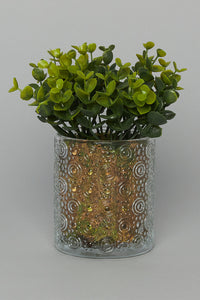Artificial Grass In Glass Pot