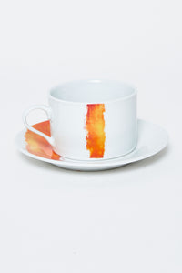 White/Orange Abstract Design Printed Dinner Set (20 Piece)