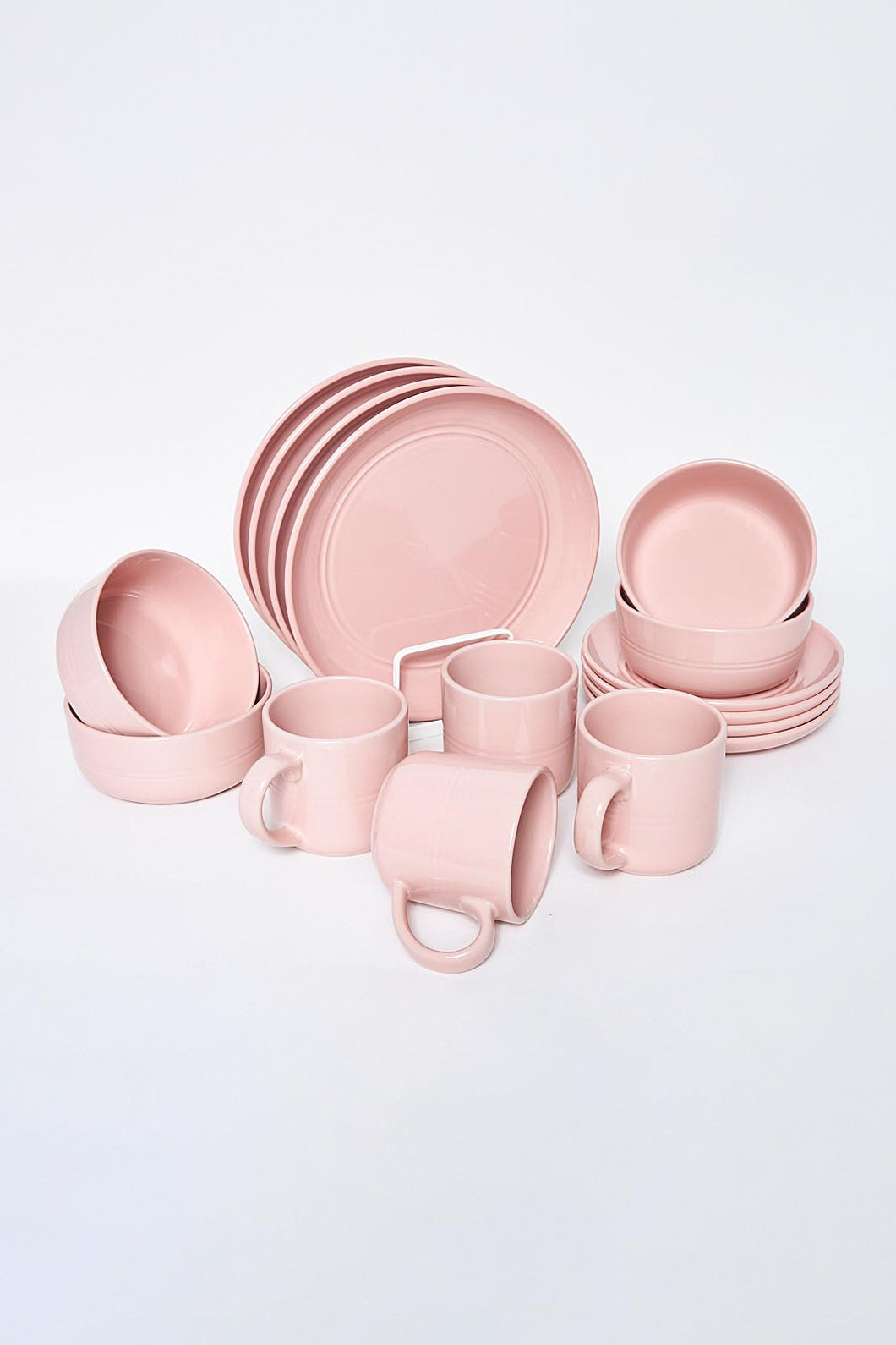 Pink Muted Clay Glazed Dinner Set (16 Piece)