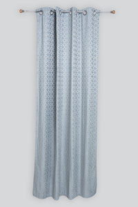 Grey Geometric Jacquard Eyelet Curtain (Pair)