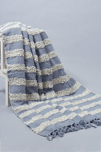 Load image into Gallery viewer, Grey Boucle Woven Stripe Throw