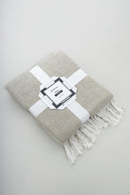 Load image into Gallery viewer, Beige Lurex Herringbone Throw