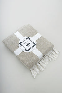 Beige Lurex Herringbone Throw
