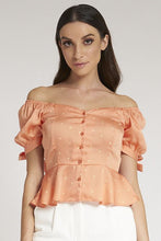 Load image into Gallery viewer, Peach Frilled Bardot Blouse