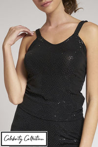 Black Sequin Strappy Top