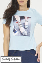 Load image into Gallery viewer, Blue Photographic Print T-Shirt With Embellishment