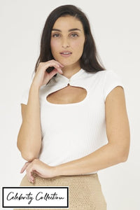 White Cut-Out Scoop Neck Top
