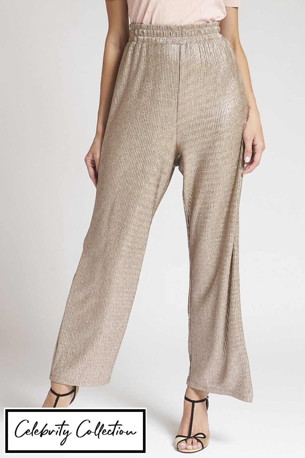 Gold Plisse Wide Leg Trousers